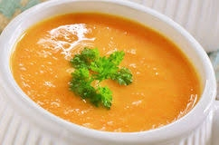 Sweet potato, carrot and ginger soup