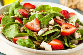 Strawberry Rocket leaves salad with feta cheese