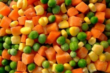 Carrot, corn, peas salad