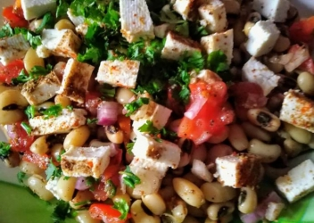 cottage cheese/chicken beans salad