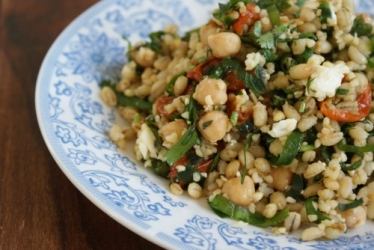 Pearl Barley and chick pea salad